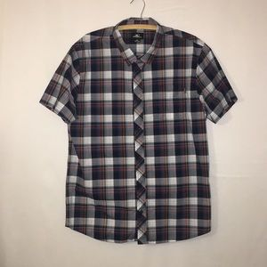 ONEILL Plaid Button Down Short Sleeve Shirt XL